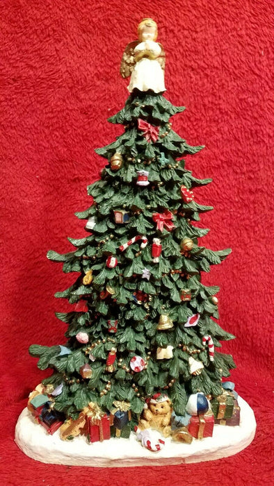 Resin Christmas Tree w/ Angel Topper and Presents Figurine