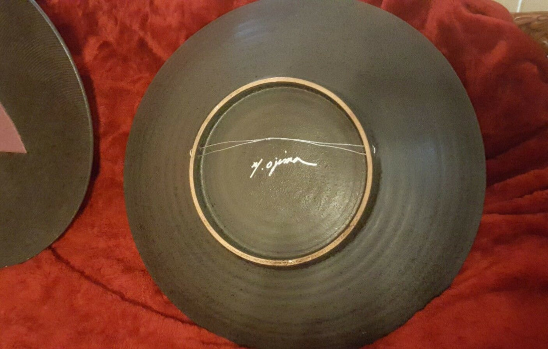 Pair MODERN GEOMETRIC ABSTRACT ART WALL HANGING Bowls signed M Ojima 23.5""
