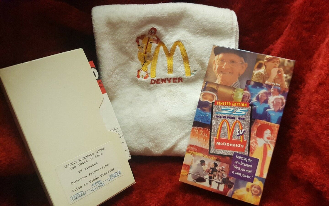 VINTAGE 1992 LIMITED EDITION 25 YEARS OF McDONALD'S TV, plus Denver handtowel