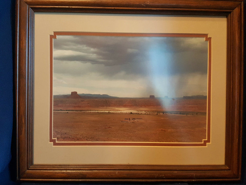 Antique Framed Photograph Picture of Reservation 1970's 13.5 x 16""