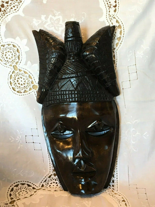 Vtg 1960's West African Mask Heavy Ebony Wood Sculpture Hand Carved