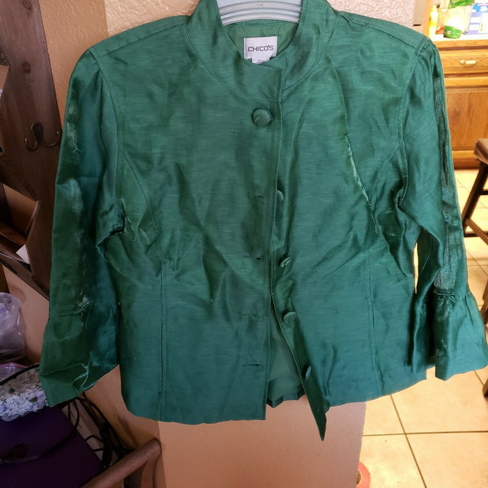 Chico's Irredescent Green Women's Blazer Jacket Size 0 Flaired Sleeves