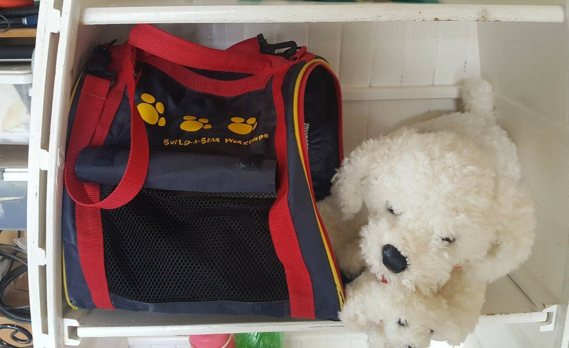 Build A Bear Kennel Pals Fluffy momma and baby dog with Carrier Case