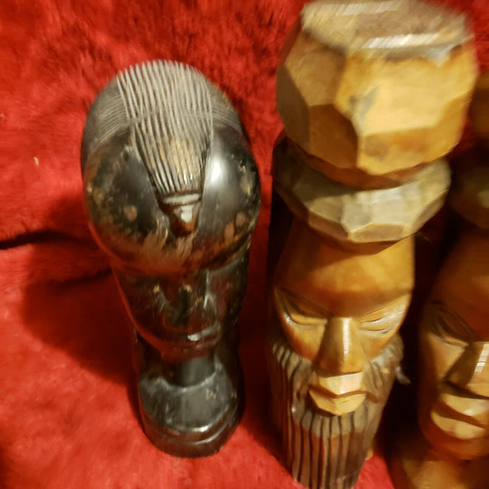 Lot 4: Set of Carved Wood Heads — African Bust Sculptures