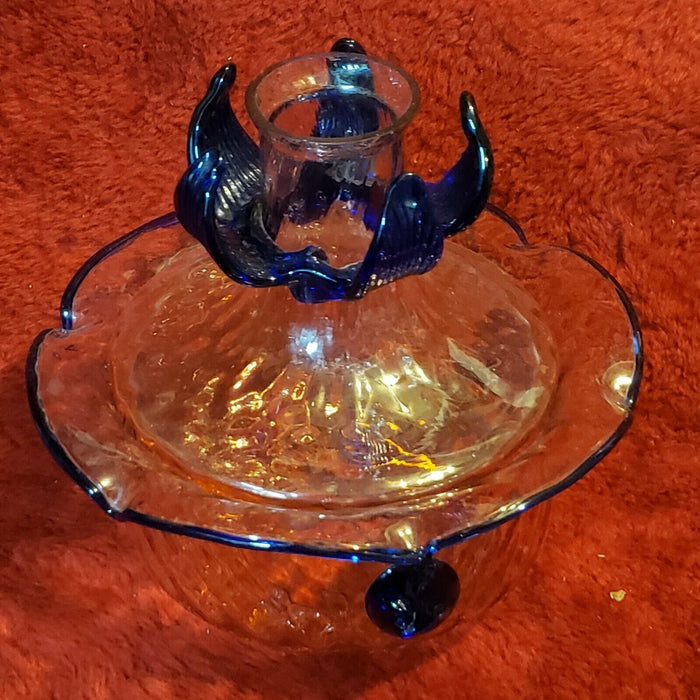 Vintage Artisinal Glass Bowl With Lid Hand Blown with hold in top of lid