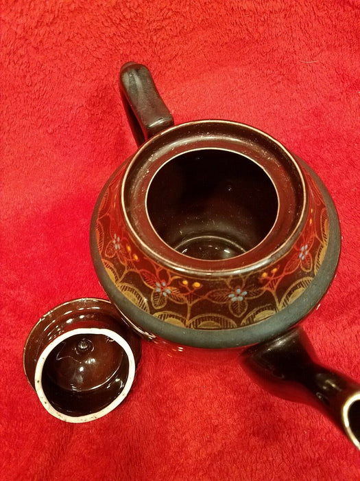 Hand Painted Redware Brown Betty Teapot Moriage Enamel Japan Gold & Brown