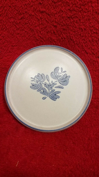 Pfaltzgraff 970 Blue Floral Ceramic Cheese Plate w/ Glass Dome