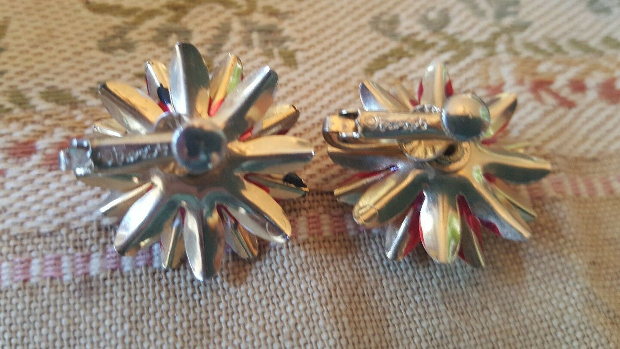 Vintage Signed FRANCO'S Goldtone Red Flower Rhinestone Clip-On Earrings