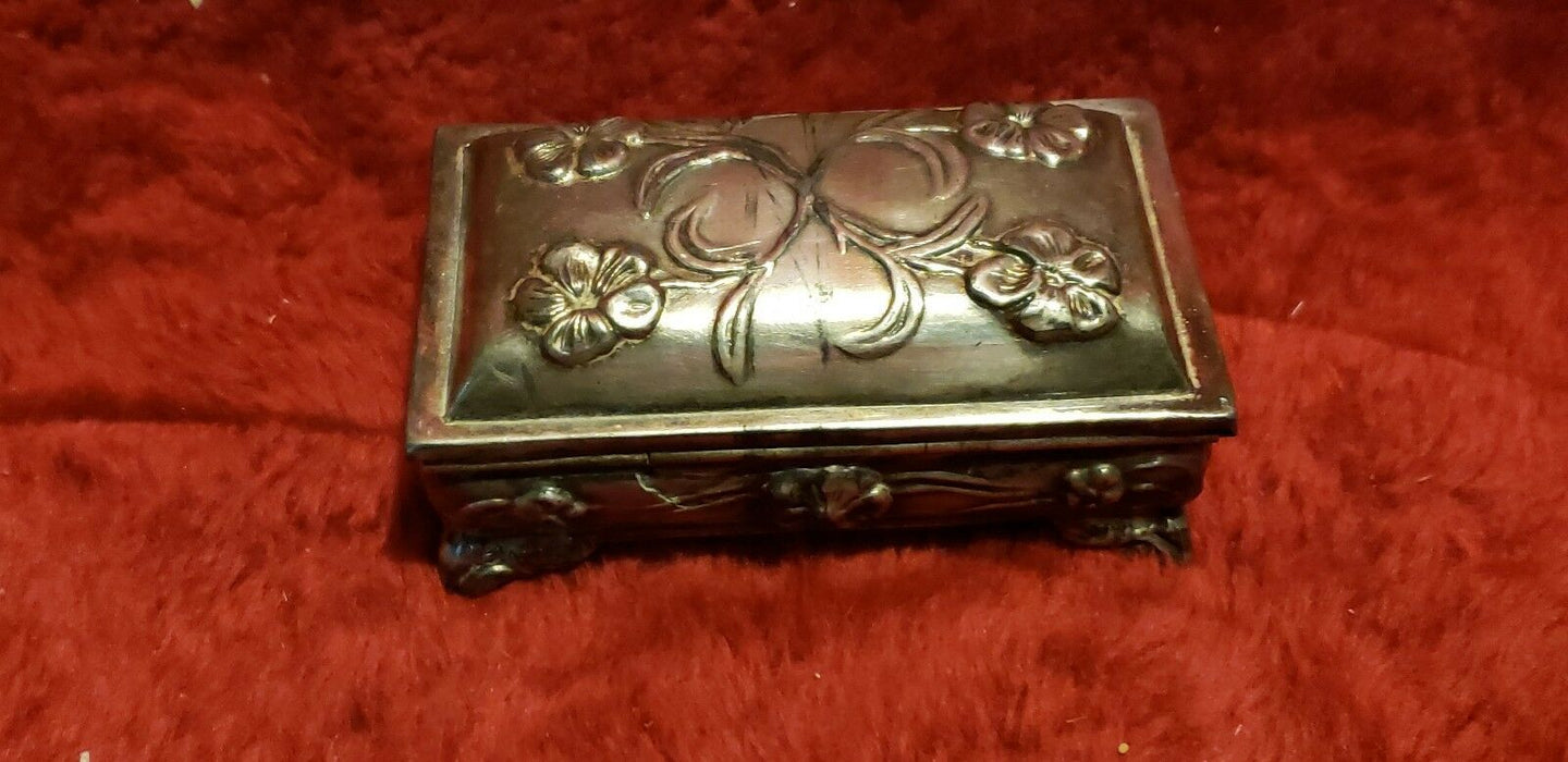Vintage Wm A Rogers, Silver Plated Trinket box M.B. Danbury, Conn