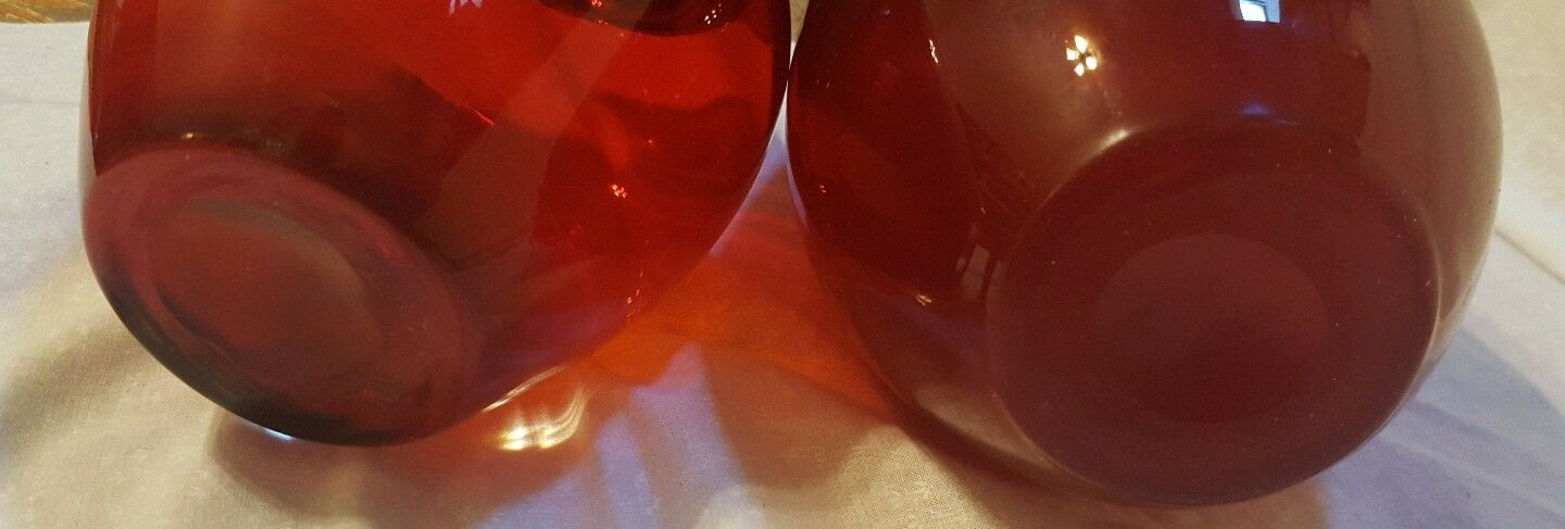 Pair HandBlown ruby red glass vases, 2 different styles