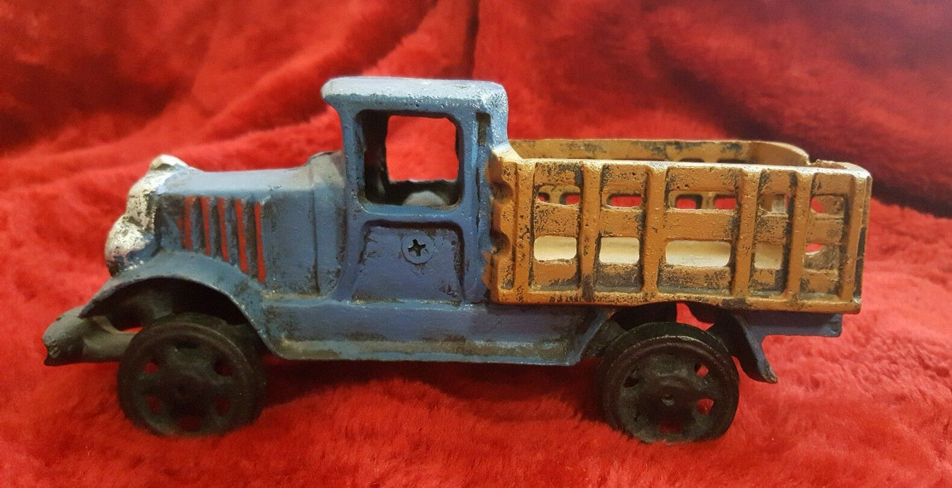VINTAGE LOOKING rustic METAL TRUCK imitation wood BED blue body black wheels