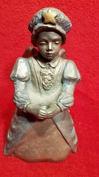 Heavy Clay Kneeling Angel in Blue Bonnet  w/ Star Taper Candle Holder