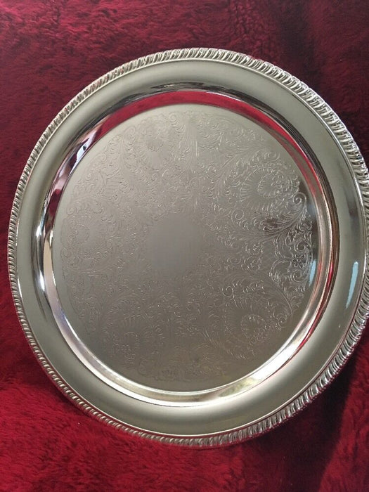 "Crosby Silver Plate Round Etched Serving Tray Platter 12.5"" No Monogram"