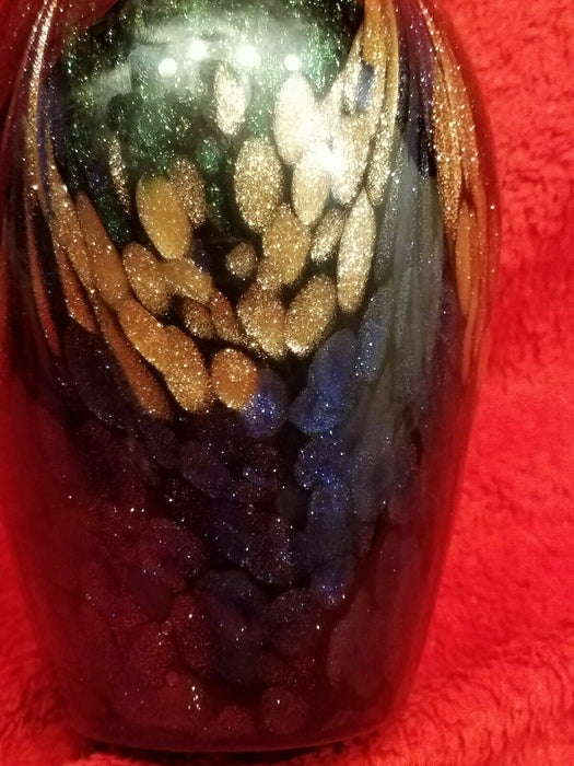 "Purple Green and Gold Iridescent Peacock Vase, 9.5"" tall"