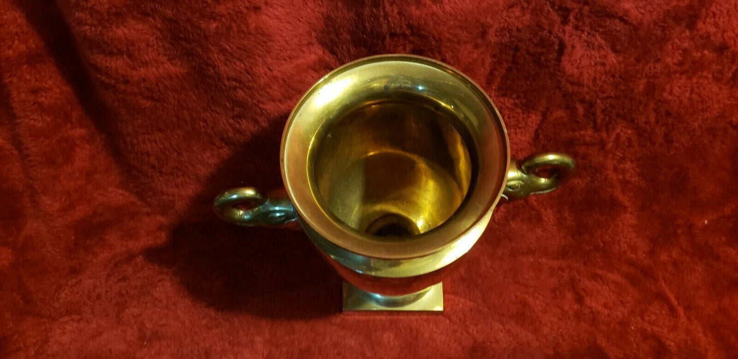 Vintage Brass double elephant handles footed vase urn home decor, 10""