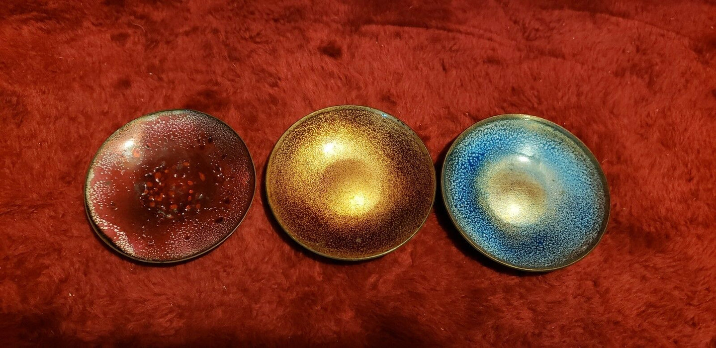 Trio Copper Framed Mini Porcelain Red, Blue & Copper Colored Speckled Plates
