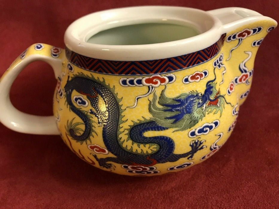 Porcelain Yellow Chinese Flying Dragon Tea Pot Set