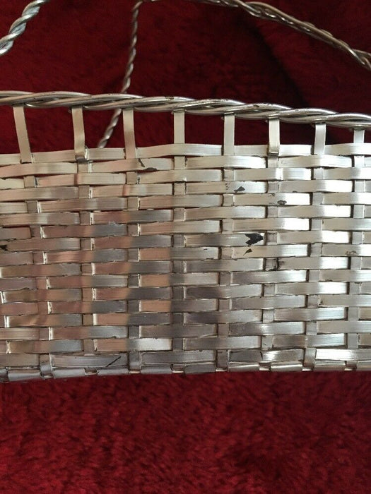 Vintage Kitchen Barware Silver Plated Braid Weave Wine BasketFrance Serving Dine