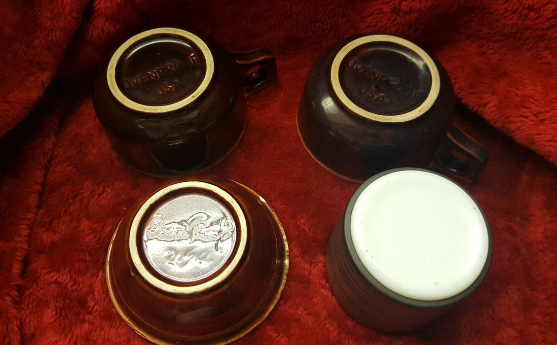 Lot of 4 Brown Soup BOWLS with Handle Oven Proof USA, + one striped container