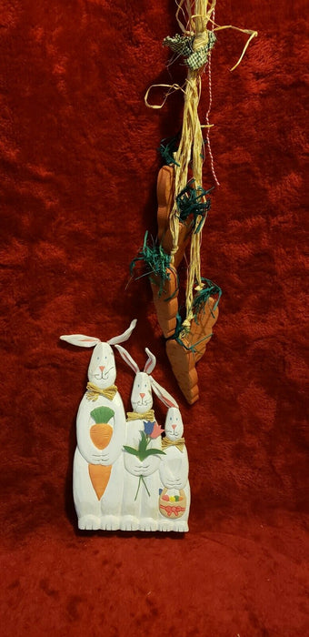 Lot 2: Wooden Bunny Rabbits Easter Spring Decor With Hanging Wood Carrots