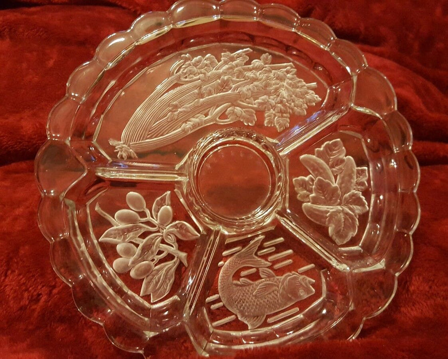 CRYSTAL CLEAR GLASS~ 5 PART Condiment PLATE/PLATTER, olive, celery, pickle, fish