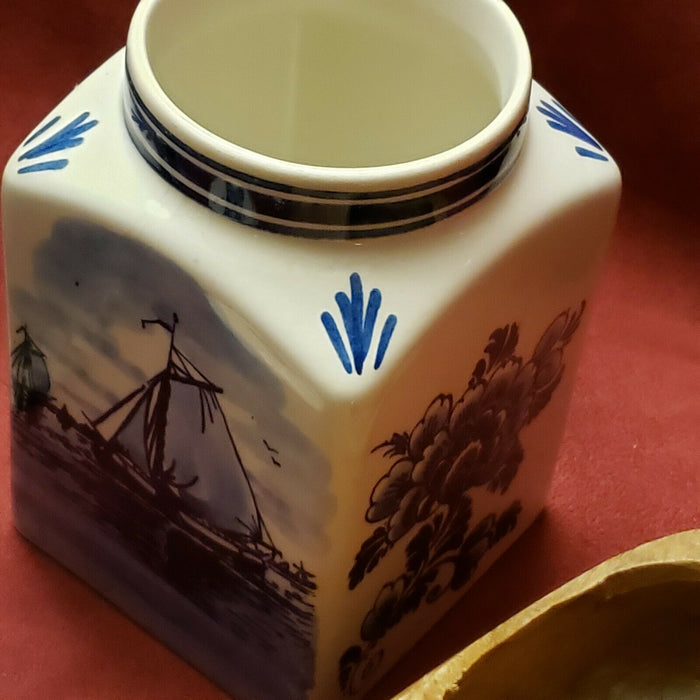 Delft Blue Canister Jar Holland Kitchen Windmill Boats + windmill & tulip