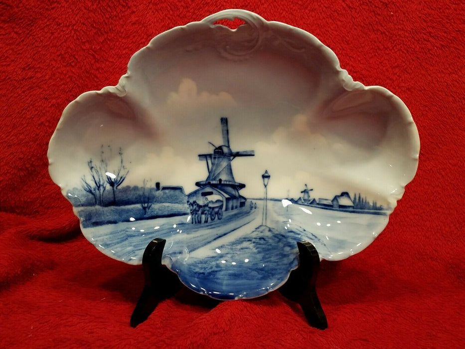 Blue Rosenthal Versailles Delft Porcelain Oval Serving Dish w/ Windmill River