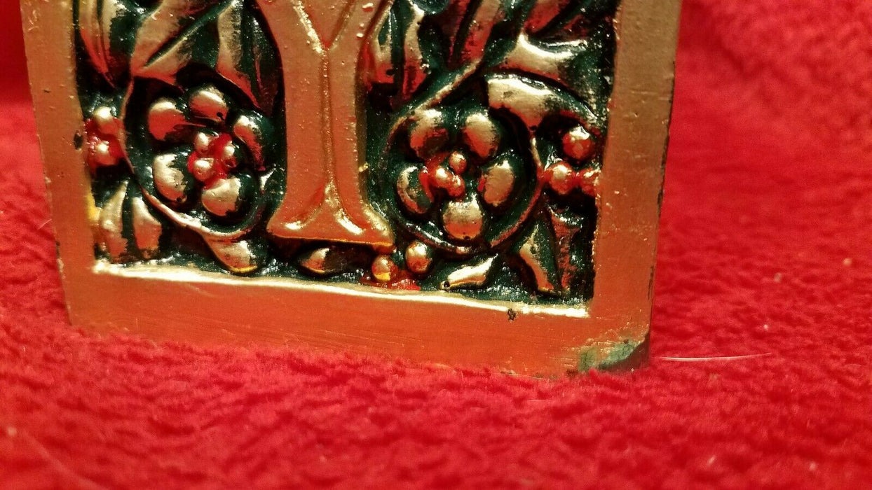 "9.5"" Green Red & Gold Square JOY Pillar Christmas Candle"