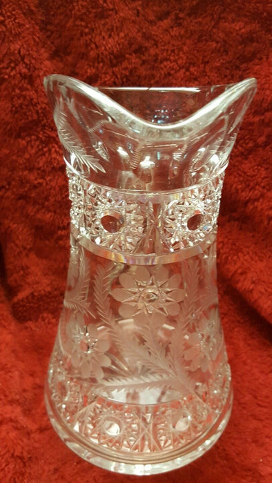 Etched Water Pitcher With Wide Base And Starred Flowers Striking