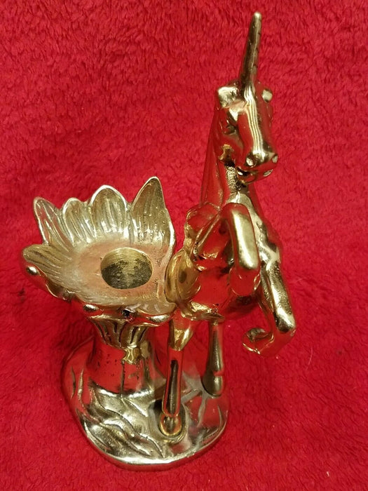 Vintage Brass Braying Unicorn & Flower Candle Holder