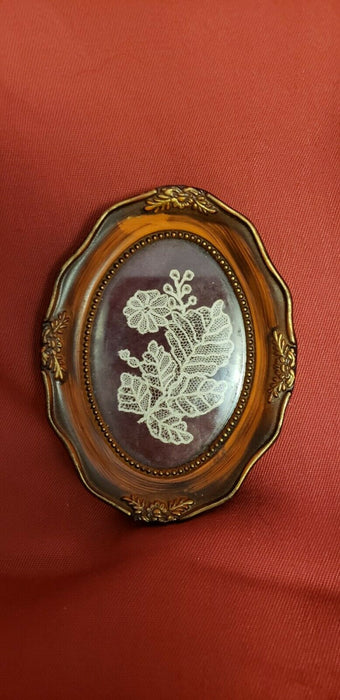Framed Antique Intricate Lace in shape of flower/leaves, Barana Italy