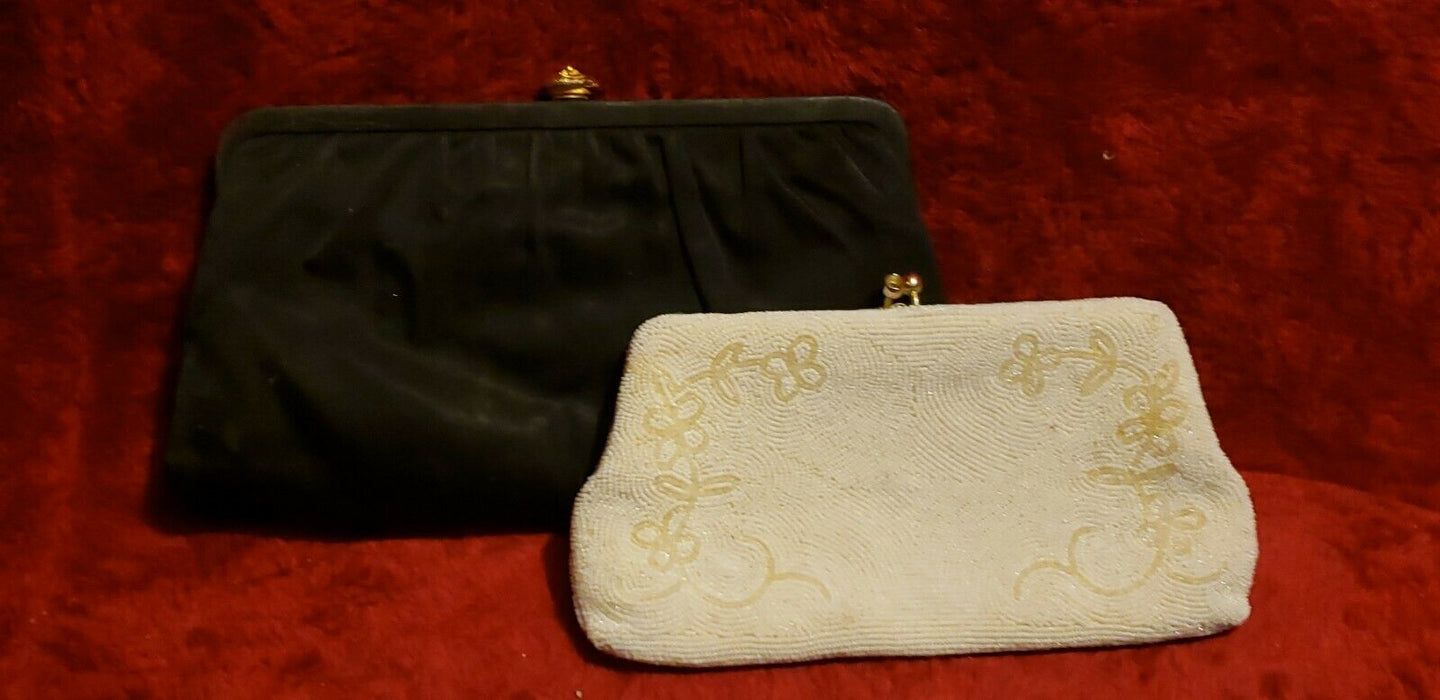 LOT 2: Vintage Beaded Offwhite & Black Purses Evening Bag