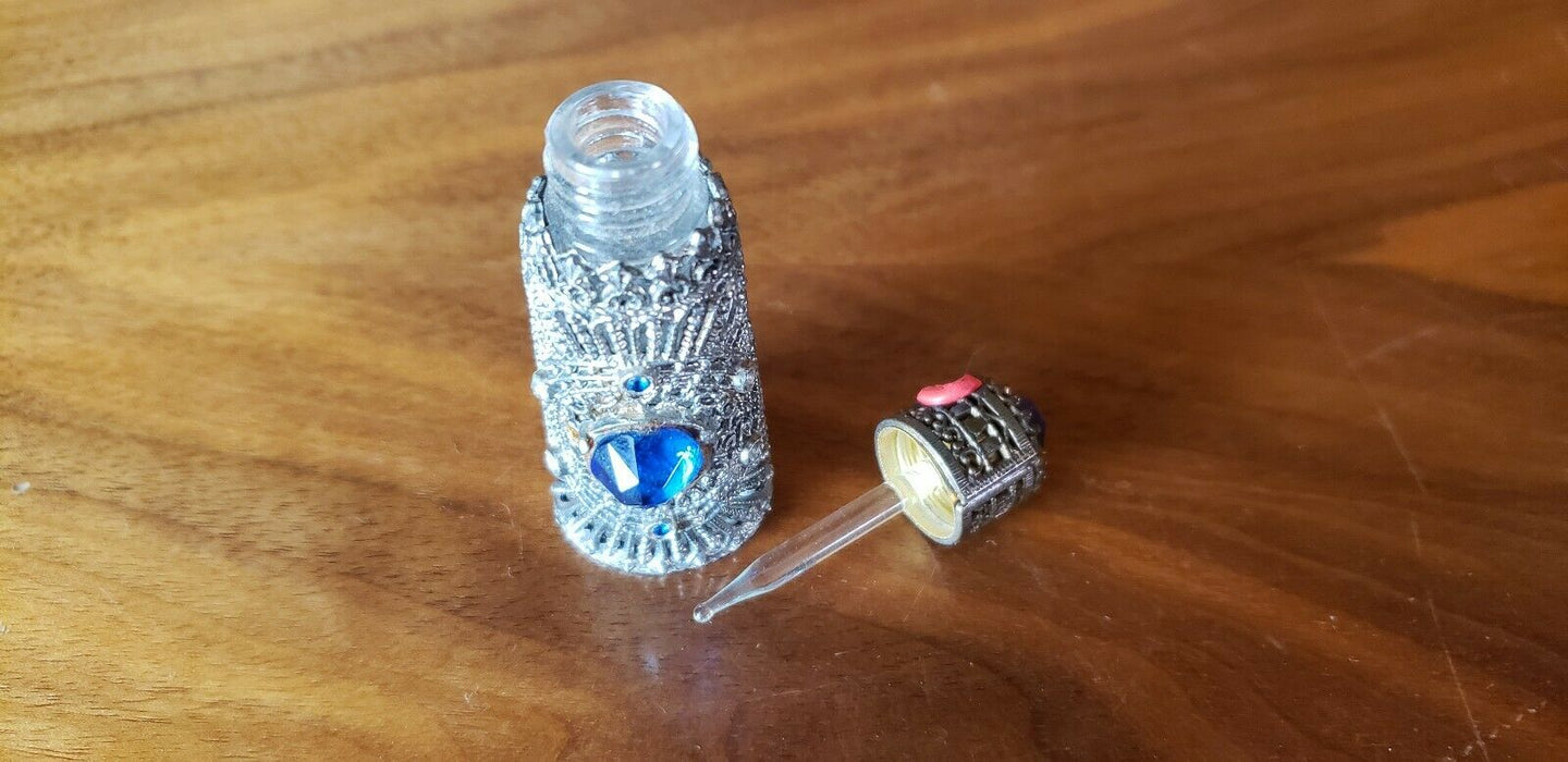 Vintage I.W. RICE Cobalt Blue Hand-Cut Perfume Bottle