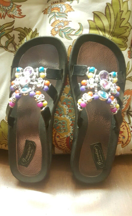Grandco Sandals Crystal Beaded Slide In Black Size 9, hy-2006