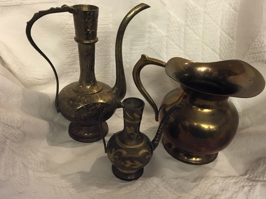 Vintage Brass Etched, Small Decorative and Solid Brass Pitcher, 3 pcs
