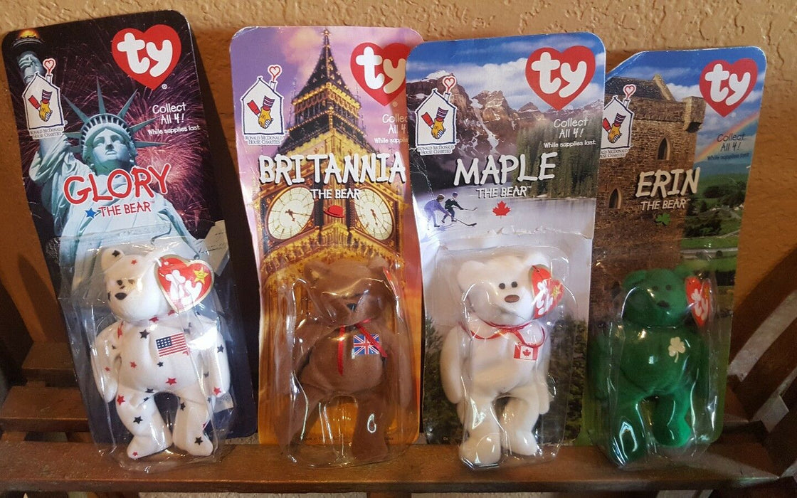 Lot 4: 1990's TY Collectors BEANIE BABIES, MAPLE, ERIN, Glory, Brittania BEAR