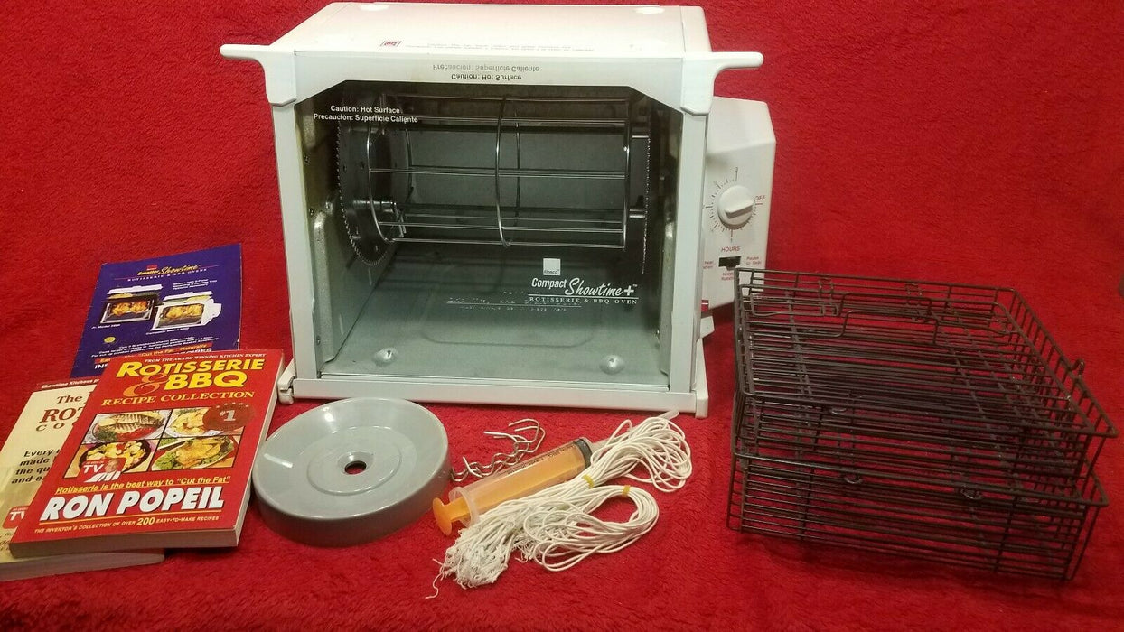 Ronco Compact Showtime + Rotisserie & BBQ Oven w/ Baskets Recipe Books