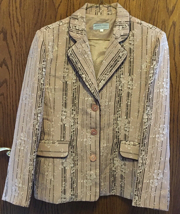 Seoul Classy Women's Dark Tan & Dark Cream Flowers Lined Blazer Jacket Size L