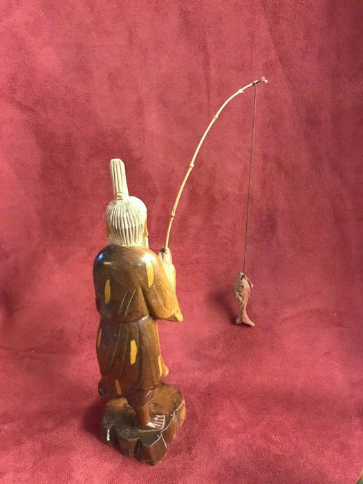 Vintage Asian carved wood figure of fisherman painted detail