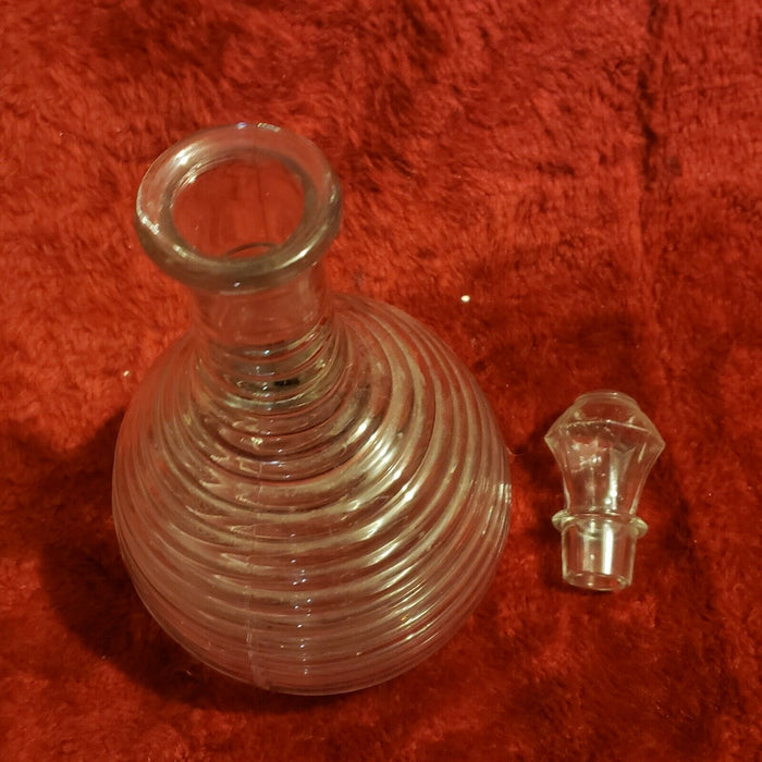 "Vintage 11.25"" Glass Decanter Concentric Ridged Decanter"