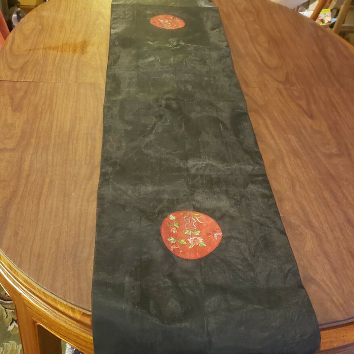 Black & Red Table Runner Silk Embroidered Fringe, 68.5""