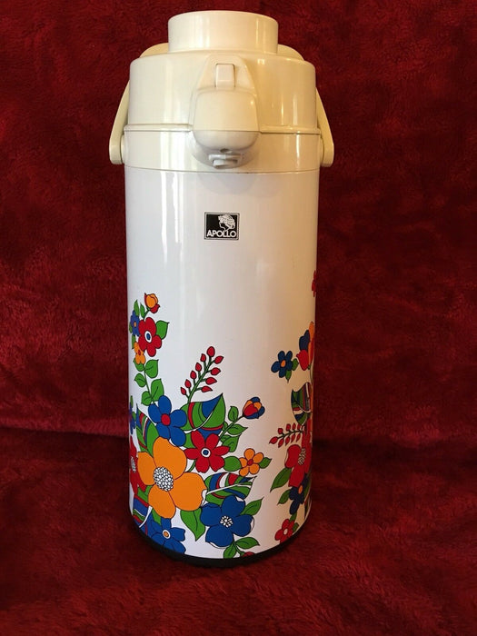 Vintage Thermo Metal Aire Jug Apollo Air Pot One  touch  pump & Pour VacBottle