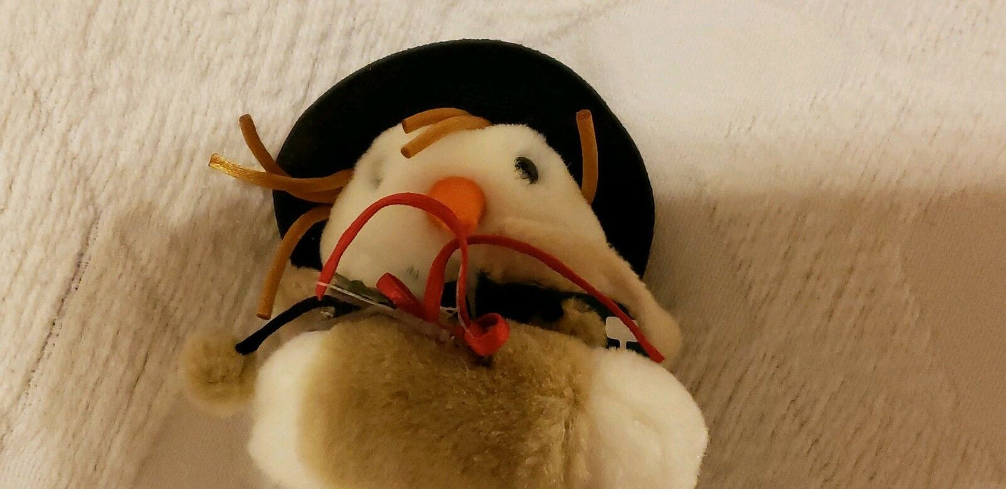 "1999 Mervyn's Christmas Snowman Plush 7"" Carrot Nose, Hat, Bells"