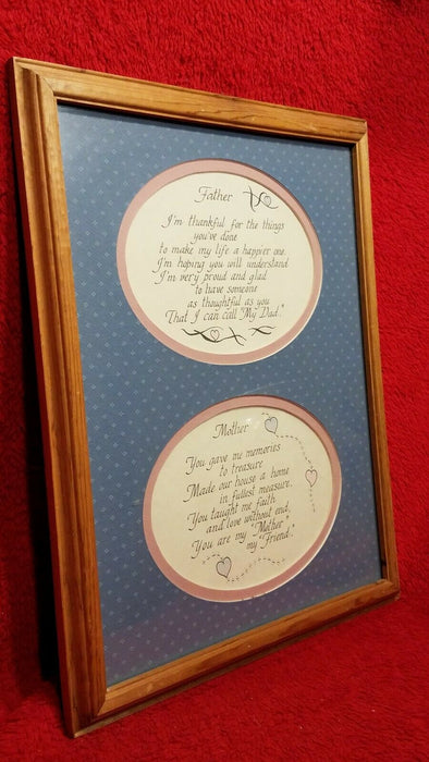 Framed Father Mother Thankful for You Memories to Treasure Blue & Pink Picture