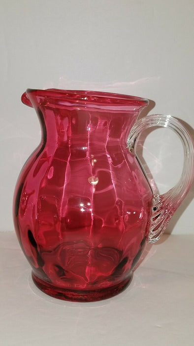 Vintage Small Cranberry Pink Hand Blown Glass Creamer w/ Clear Clam Shell Handle