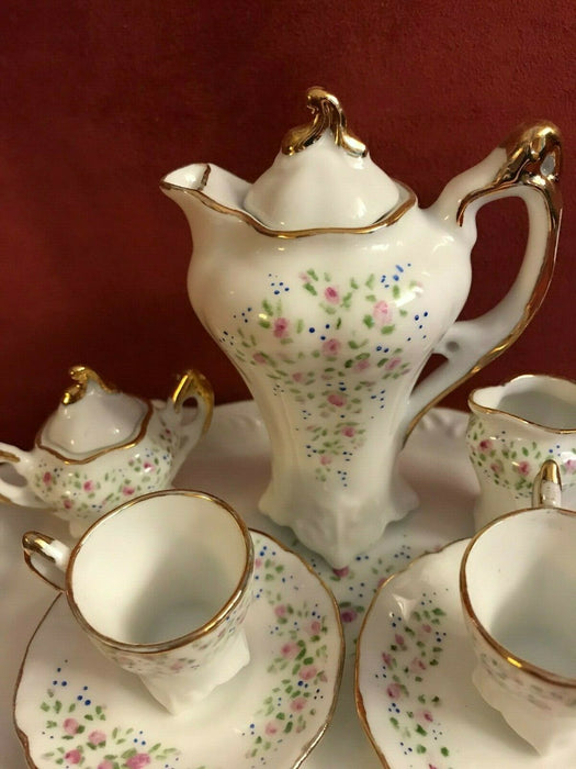 Miniature Porcelain Tea Set Teapot Sugar Bowl Creamer Two Teacups & Saucers