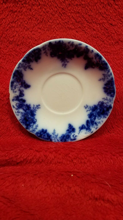 Set of 2 Antique Johnson Bros, Peach Royal, Flow Blue Saucers