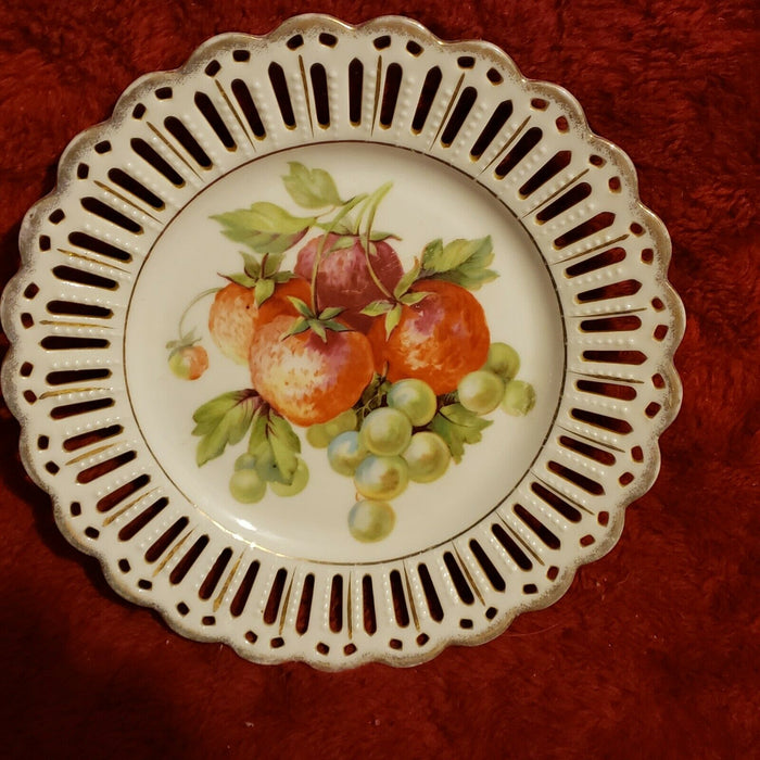 "Bavaria 8.25"" Plate Strawberries Grapes Pierced Reticulated Design Gold Trim"