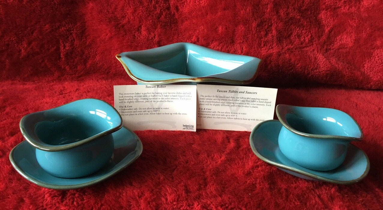 Southern Living At Home Tuscan Square Baker & Set of 2 Tidbits Bowls & Saucers
