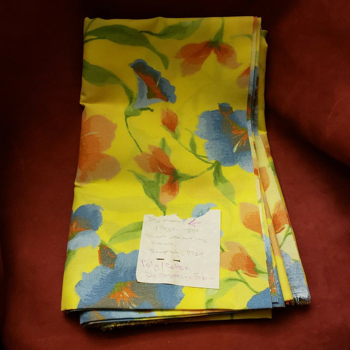 "1 7/8 Yds, 54"" long Yellow Floral Poly/Cotton Decorative Fabric"